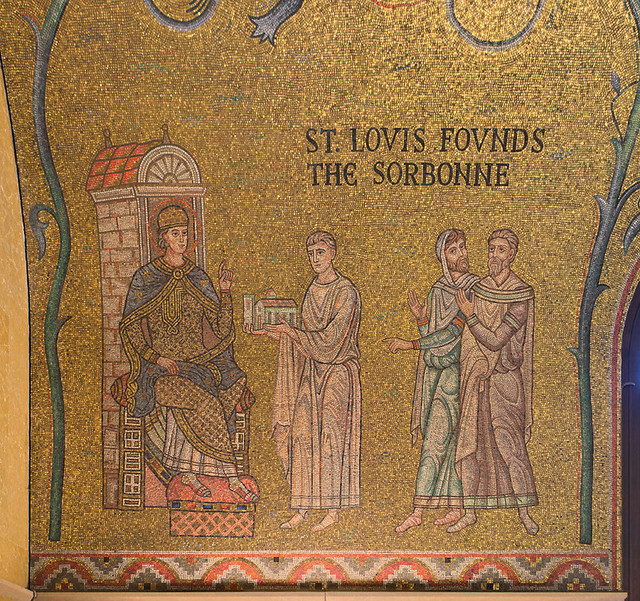 Cathedral Basilica of Saint Louis, in Saint Louis, Missouri, USA - mosaic 1 in Narthex - St. Louis Founds the Sorbonne