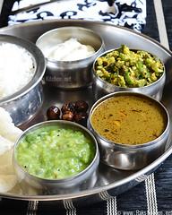 keerai kootu, curry leaves kuzhambu, vendakkai poriyal