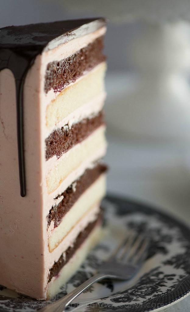 Chocolate Vanilla Tuxedo Cake With Rasperry Buttercream