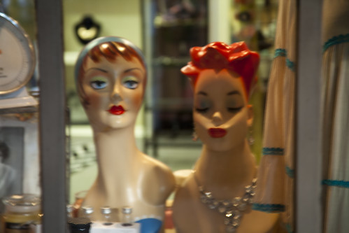 Manic mannequins in a shop window, Salado, Texas.