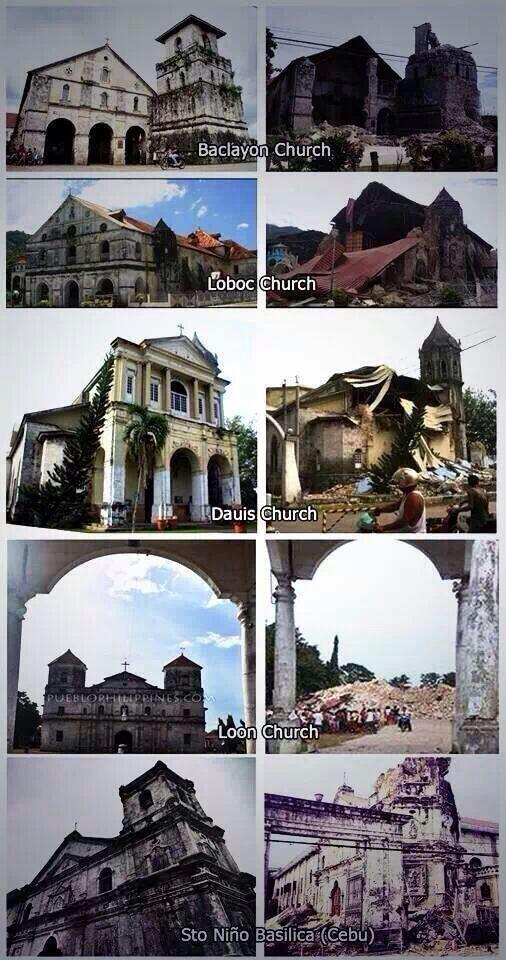 bohol and cebu old churches_before and after oct15,2013 quake