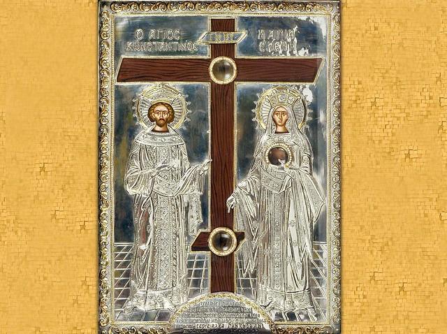 Sfintii Imparati Constantin si Elena si fragmente din Sfanta Cruce a Domnului