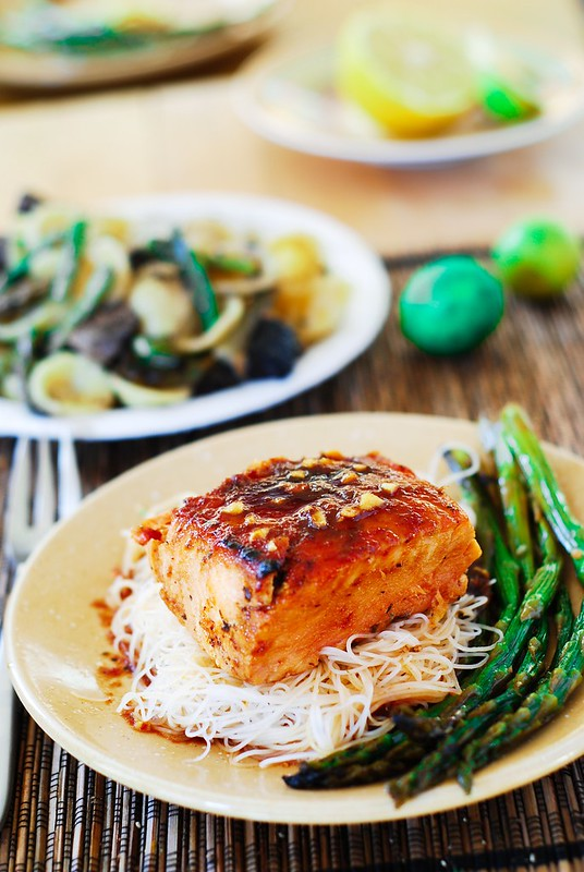 Asian glazed salmon with rice noodles and asparagus, Asian food, Asian recipes, Asian salmon recipe, Asian seafood recipe, Asian fish recipe