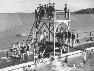 Bathers at the Manly Swimming Baths, Brisbane, Queensland, 1936