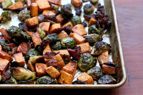 Roasted Brussels Sprouts, Sweet Potatoes And Bacon Recipes ...