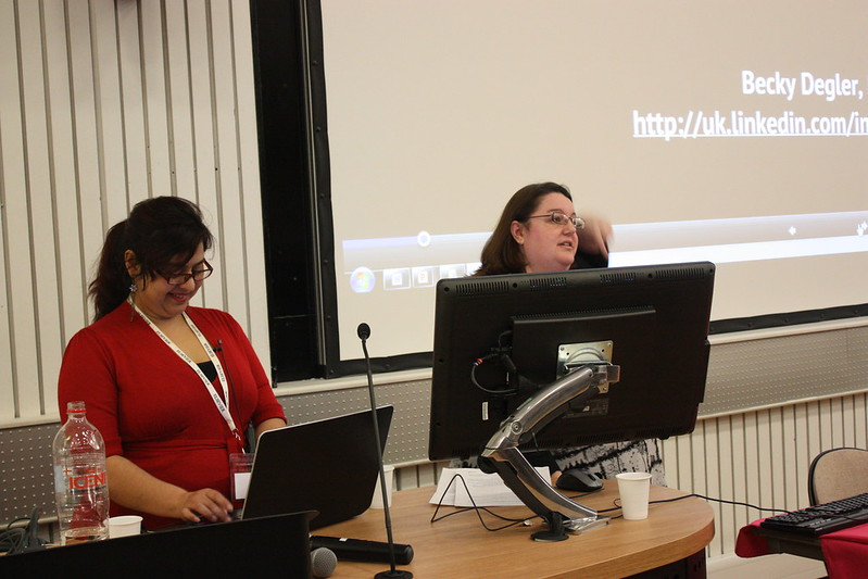 Padmini Ray Murray (left) and Becky Degler (right) during the gamification session.