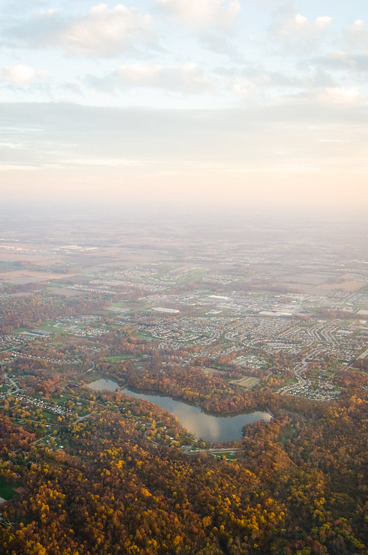 The colors of Autumn in Indiana from an airplane window.