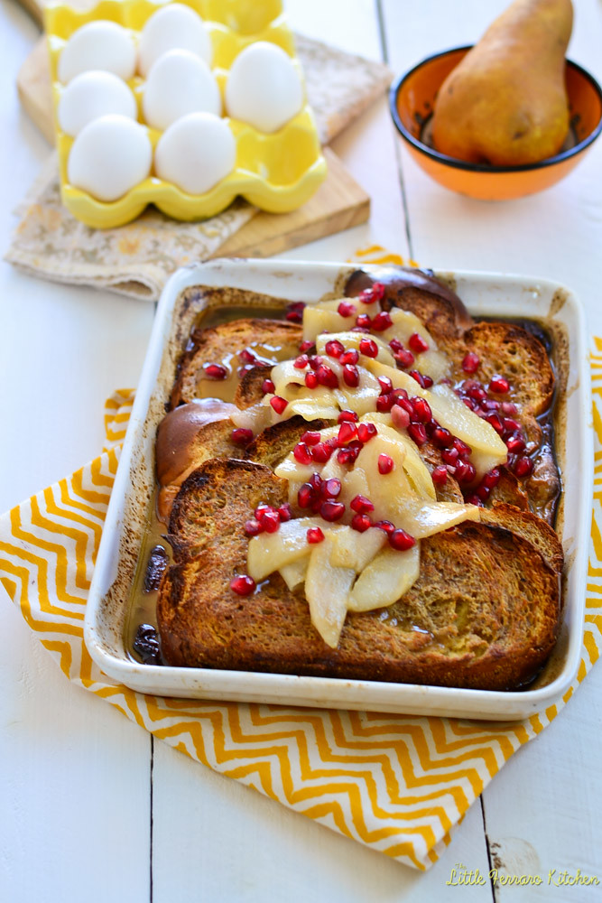 Baked Eggnog French Toast with Sauteed Pears and Pomegranates via LittleFerraroKitchen.com