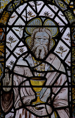 Atcham, Shropshire, St. Eata's church, east window, God, detail