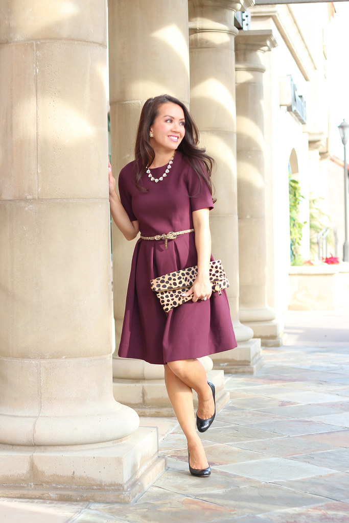 H&M Burgundy Flare Dress-3