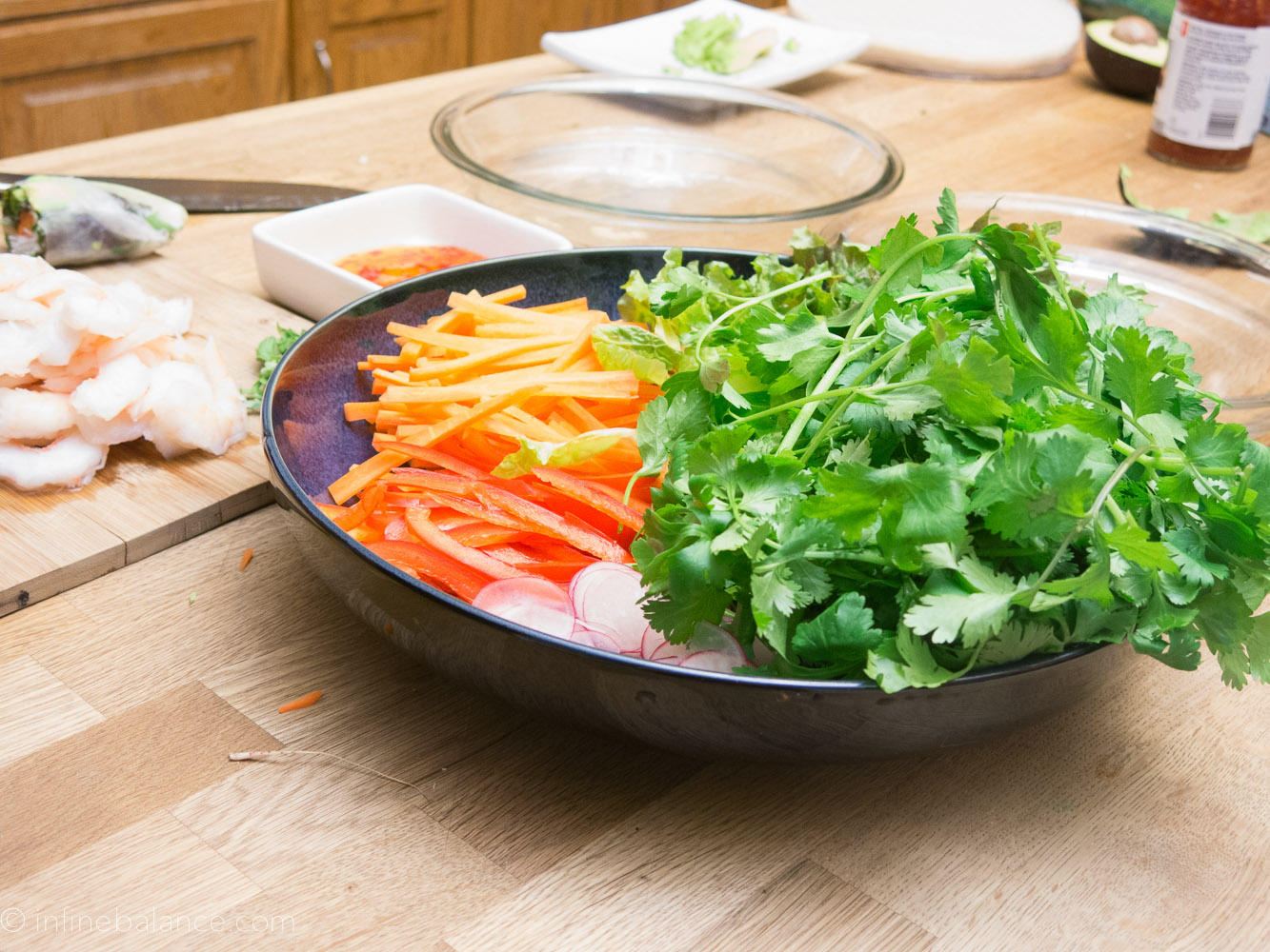 veggies prepped for making fresh vegan spring rolls
