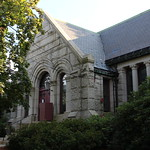 Historic 1898 Bancroft Memorial Library in Hopedale, Massachusetts.  Also known as the Hopedale Public Library.  Added to the National Register of Historic Places in 1999 (NRHP #80000524).