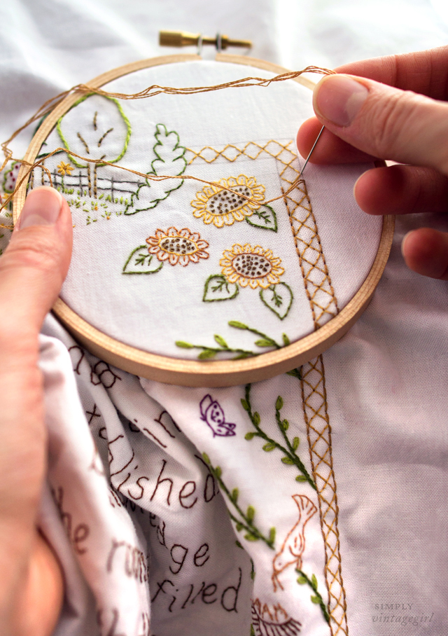 Embroidered Sunflowers