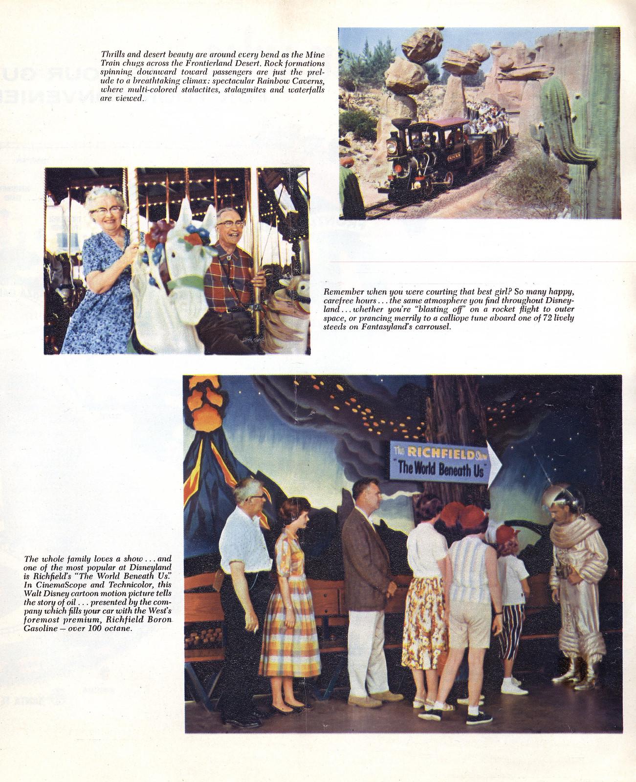 1959 Disneyland Summer Newspaper supplement 09 - Mine Train Through Nature's Wonderland, King Arthur's Carrousel, Richfield's The World Beneath Us