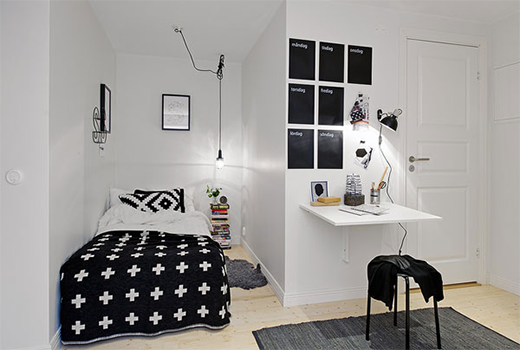 small room idea black and white