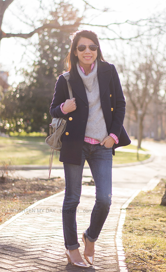 navy peacoat, gray cowl sweater, neon pink gingham shirt, rose gold metallic wedges