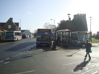 Cardigan Finch Square with 4 buses present