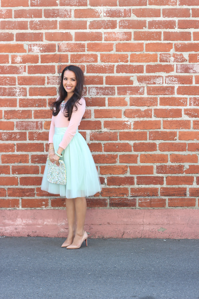 Mint Tulle Skirt and Blush Tee-6