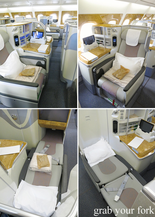 Business Class seat pitch and flat bed configuration on the Emirates A380