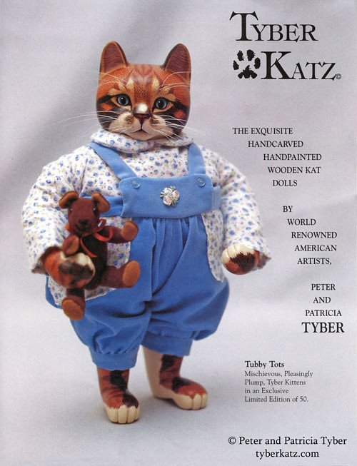 Cat art doll catalog by Peter and Patricia Tyber of Tyber Katz, page 1