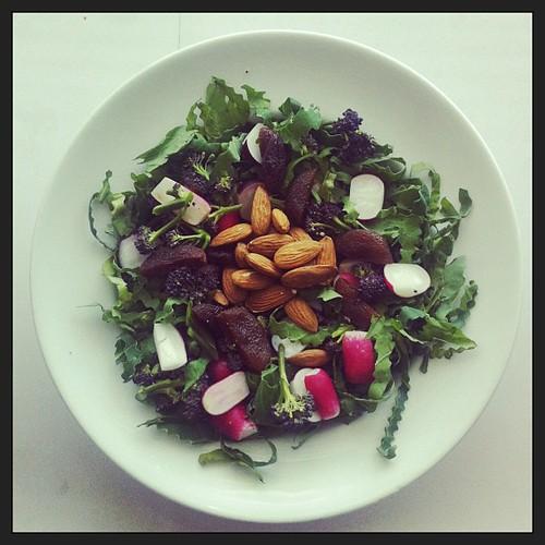 Purple broccoli, radishes, almonds, dried apricots, spring greens #salad #healthyfood #vegan #raw #rawfood #saladporn #saladpride #foodmatters #desklunch #notsaddesklunch by Salad Pride