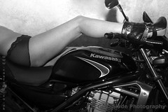 A selection of photographs involving vehicles. Motorcycles and cars. Some of the images include people.
