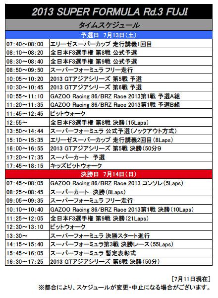 2013スーパーフォーミュラ第3戦富士タイムスケジュール