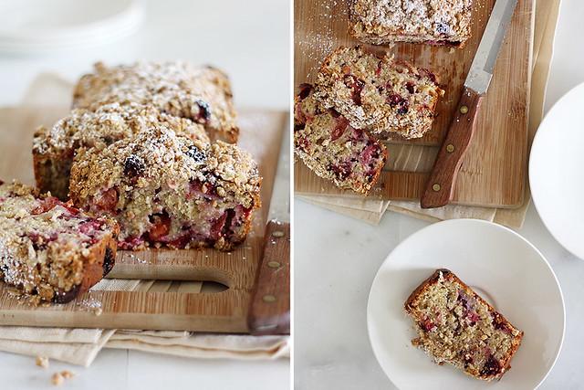 plum-blackberry cream cheese bread with oat streusel
