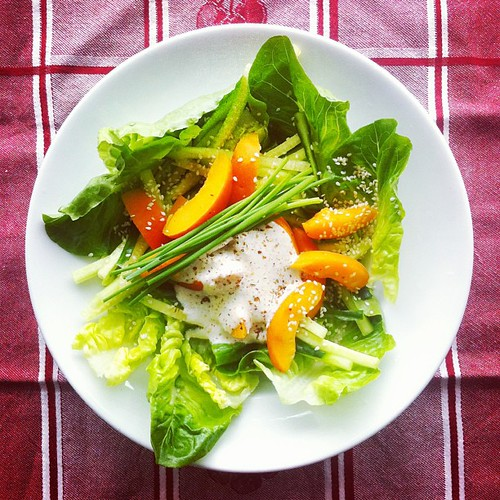 Detox n.3. #apricots #cucumber #lettuce #lemon juice #sesame #almond cream #olive oil #chives #salad by Salad Pride