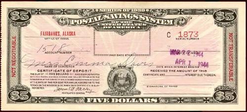 Fairbanks Alaska Postal Savings Note front