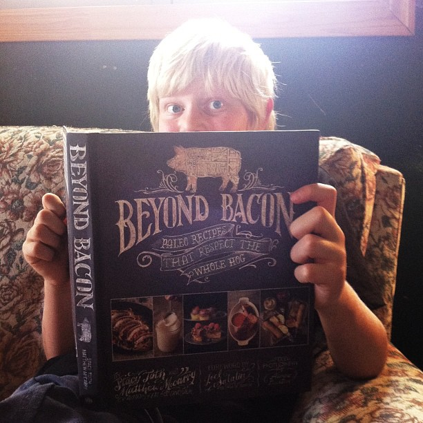 I got #beyondbacon a few days ago. Haven't been able to look through it yet, though. The twelve year old hasn't put it down. He's a fan. @paleoparents #paleo #helovestocook #mmmmbaconjam