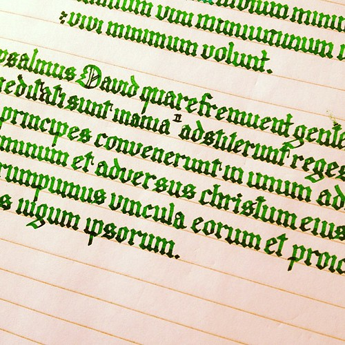 Calligraphy practice. For anyone wondering about the text, it's the Latin Vulgate Psalms.