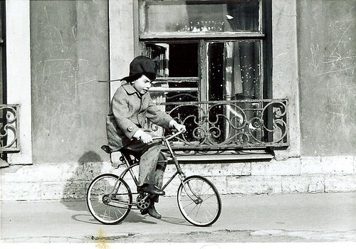 Russian child on bike