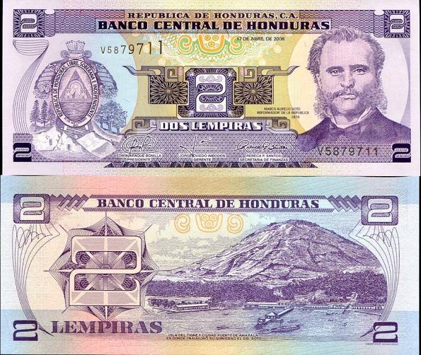 2 Lempiras Honduras 2008, Pick 90
