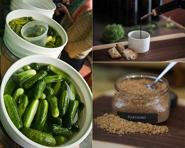 Horman's Best Pickles (left); photo by Jason Gardner. Pure Mountain Olive Oil (right).