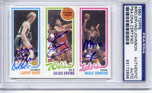 1980 Topps Magic Johnson/Larry Bird/Julius Erving PSA/DNA Authenticated Triple Autographed Rookie Card