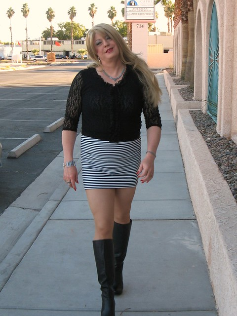 Tall Boots Long Legs, Mini Skirt And Lace Top - A Photo On -5367