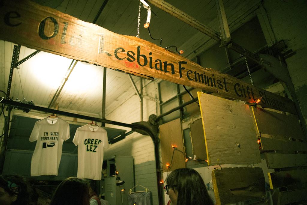 "Sign says ""olde lesbian gift shoppe"""