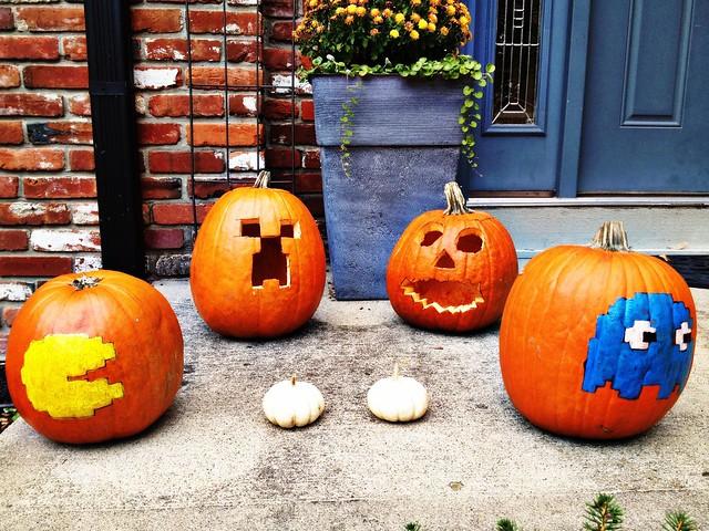 Minecraft and PacMan pumpkins