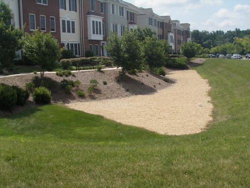 Image of a sand filter next to a row of townhomes. A sand filter is a stormwater management best practice.