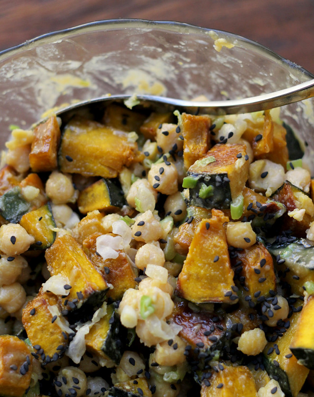 Roasted Kabocha Squash and Chickpea Salad with Tahini, Scallions and ...
