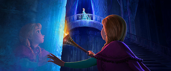 Kristen Bell and Idina Menzel find themselves a little chilled in FROZEN.