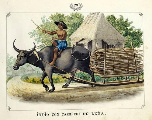 004-INDIO CON CARRETON DE LEÑA-Vistas de las Yslas Filipinas y Trages…1847-J.H. Lozano- Biblioteca Digital Hispánica