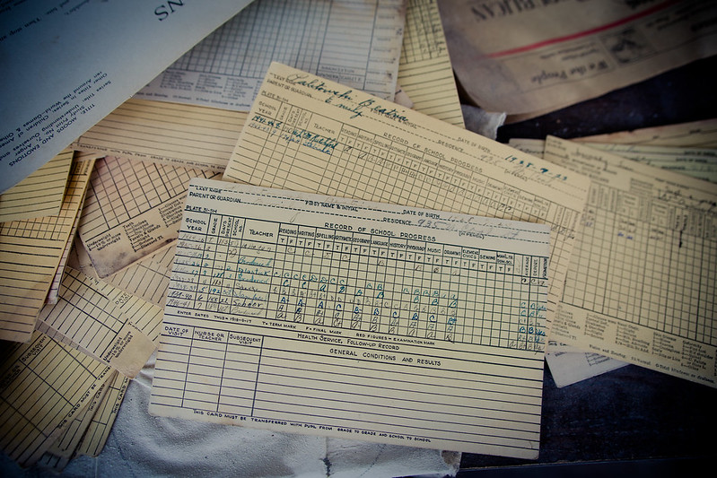 Report card for the same student - 1934-1942