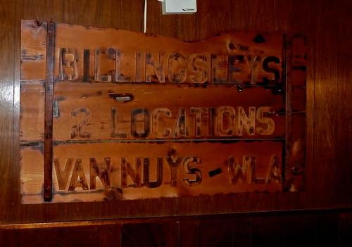 Billingsley's Restaurant Los Angeles CA 2 Locations Sign