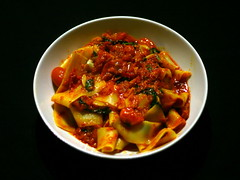 'Nduja with baby plum tomatoes and pappardell…