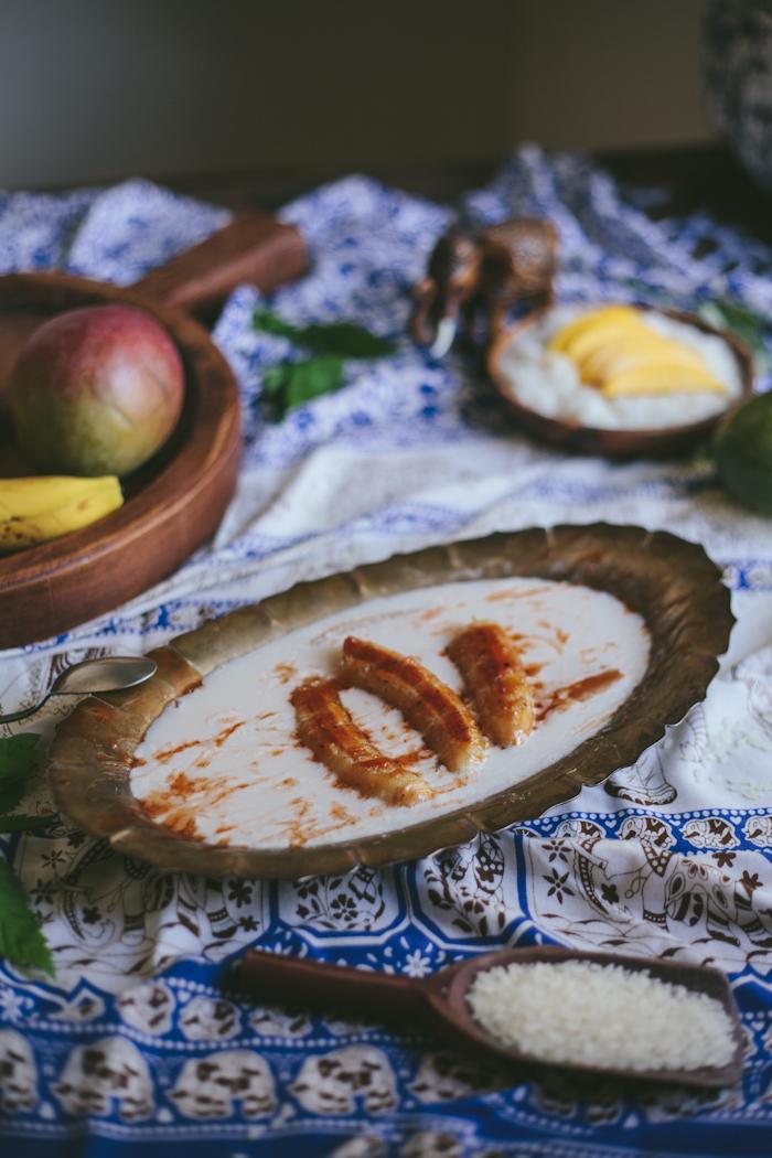 Bananas in Coconut Milk with Thai Tea Caramel| Adventures in Cooking