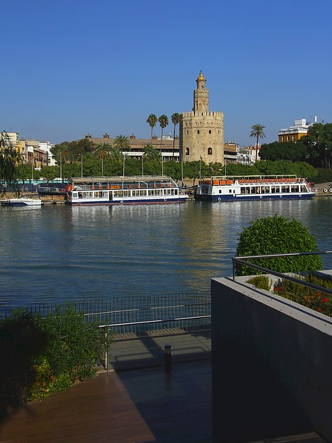 Seville, Spain - the 'Torre del Oro' on the banks of the river Guadalquivir