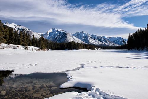 alberta banff banffnationalpark canada canadianrockies clouds d750 frozen johnsonlake mountains nikon rockies rockymountains snow winter