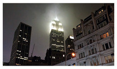Empire State Building on misty January night
